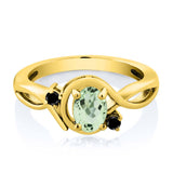 0.82 Ct Oval Green Prasiolite Black Diamond 18K Yellow Gold Plated Silver Ring