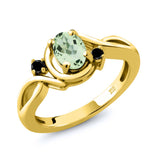 Gem Stone King 0.82 Ct Oval Green Prasiolite Black Diamond 18K Yellow Gold Plated Silver Ring