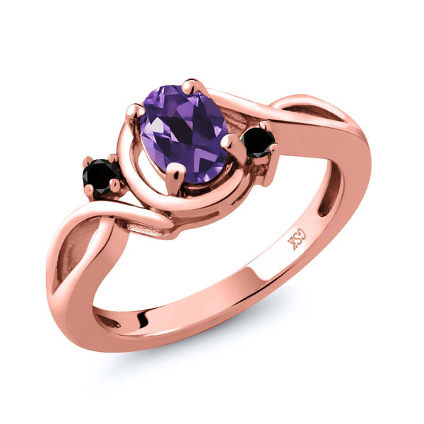 Gem Stone King 0.82 Ct Oval Purple Amethyst Black Diamond 18K Rose Gold Plated Silver Ring