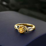 0.67 Ct Oval Yellow Citrine Black Diamond 18K Yellow Gold Plated Silver Ring