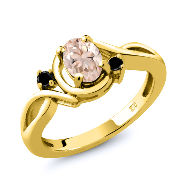 Gem Stone King 0.72 Ct Oval Peach Morganite Black Diamond 18K Yellow Gold Plated Silver Ring