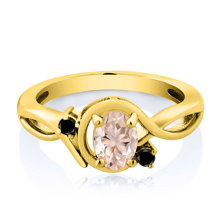 0.72 Ct Oval Peach Morganite Black Diamond 18K Yellow Gold Plated Silver Ring