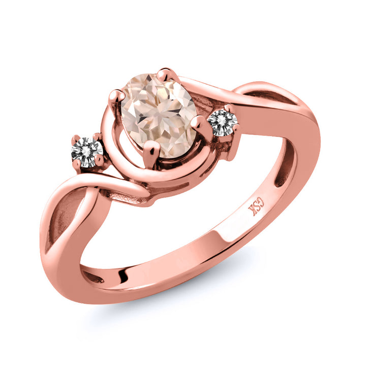 Gem Stone King 0.72 Ct Oval Peach Morganite White Diamond 18K Rose Gold Plated Silver Ring