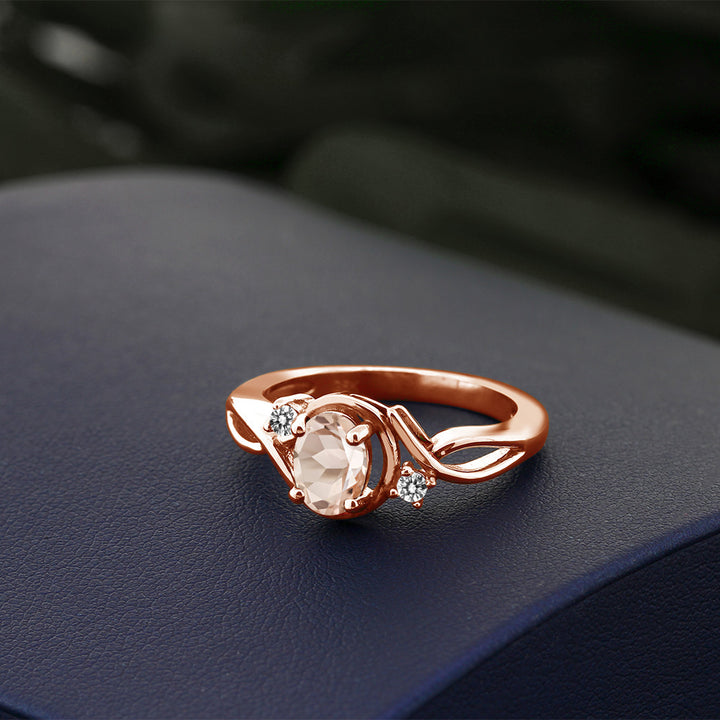 0.72 Ct Oval Peach Morganite White Diamond 18K Rose Gold Plated Silver Ring