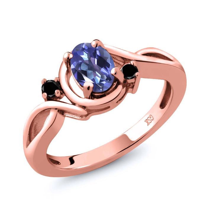 Gem Stone King 0.87 Ct Purple Blue Mystic Topaz Black Diamond 18K Rose Gold Plated Silver Ring