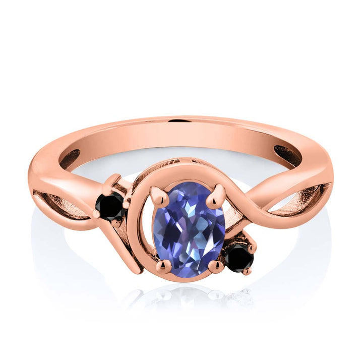 0.87 Ct Purple Blue Mystic Topaz Black Diamond 18K Rose Gold Plated Silver Ring