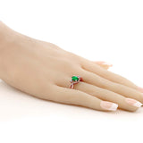 0.68 Ct Oval Simulated Emerald White Topaz 18K Rose Gold Plated Silver Ring