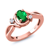 Gem Stone King 0.68 Ct Oval Green Simulated Emerald White Topaz 18K Rose Gold Plated Silver Ring