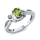 Gem Stone King 0.87 Ct Oval Green Peridot White Diamond 925 Sterling Silver Ring