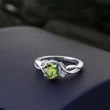 0.87 Ct Oval Green Peridot White Diamond 925 Sterling Silver Ring