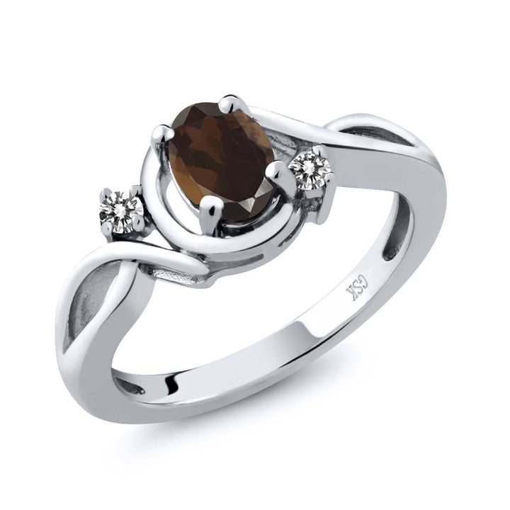 Gem Stone King 0.82 Ct Oval Brown Smoky Quartz White Diamond 925 Sterling Silver Ring
