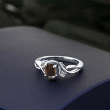 0.82 Ct Oval Brown Smoky Quartz White Diamond 925 Sterling Silver Ring