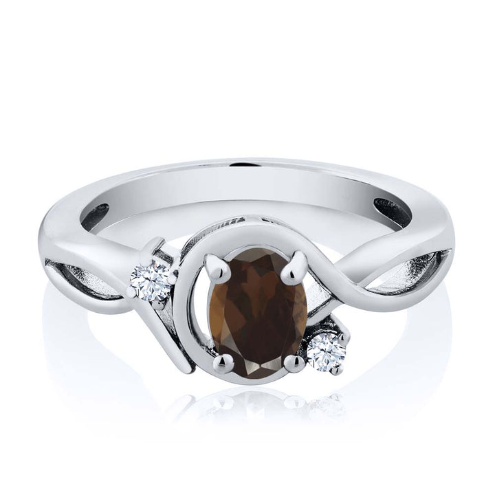 0.83 Ct Oval Brown Smoky Quartz White Topaz 925 Sterling Silver Ring