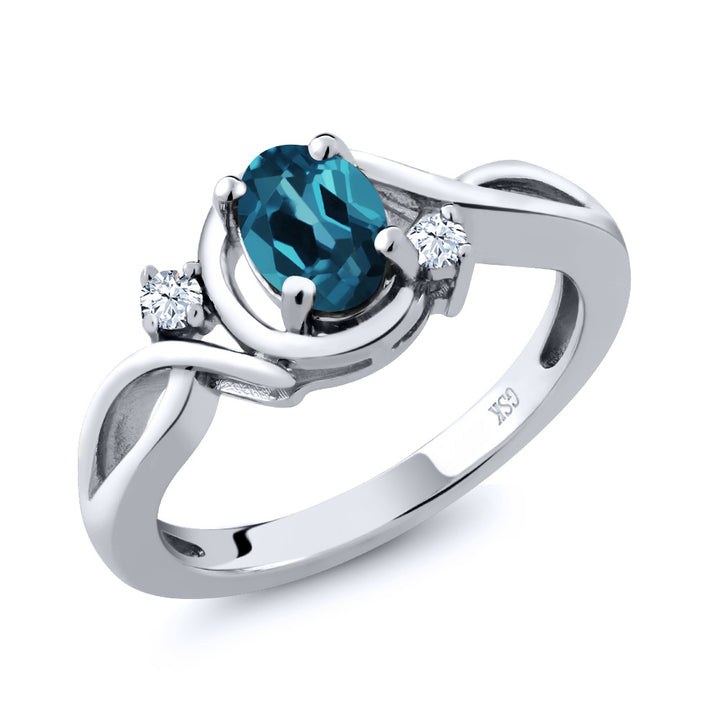 Gem Stone King 0.98 Ct Oval London Blue Topaz White Topaz 925 Sterling Silver Ring