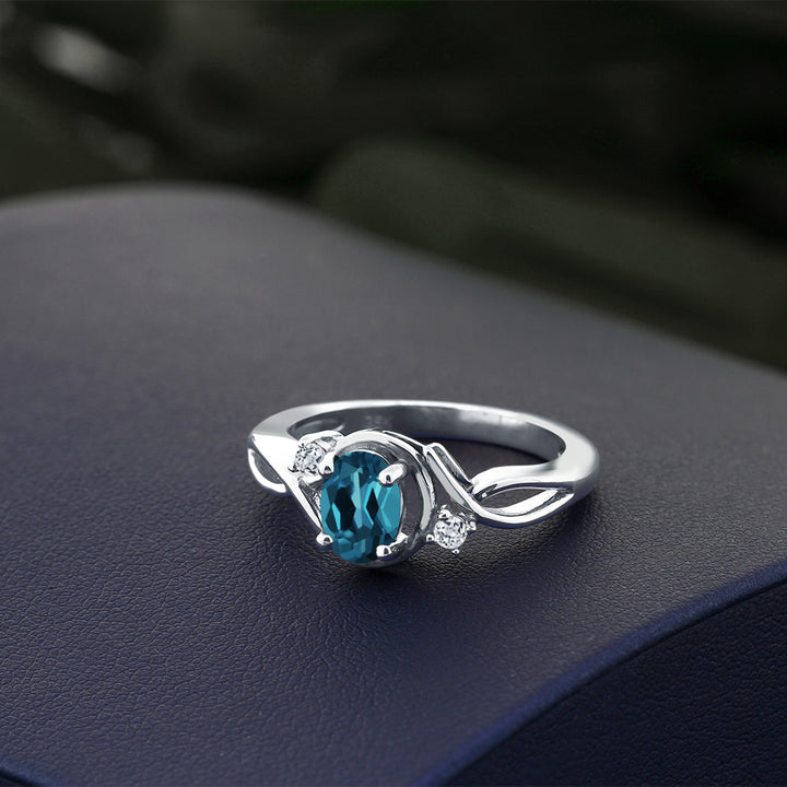 0.98 Ct Oval London Blue Topaz White Topaz 925 Sterling Silver Ring