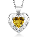 "Gem Stone King 0.71 Ct Heart Shape Yellow Citrine White Created Sapphire 925 Sterling Silver Pendant with 18"" Chain"