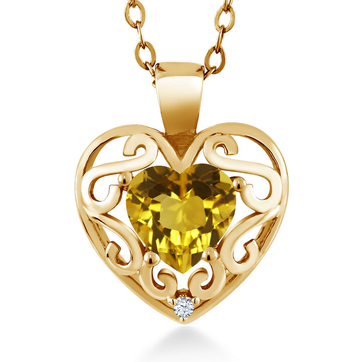 "Gem Stone King 0.71 Ct Heart Shape Yellow Citrine 18K Yellow Gold Plated Silver Pendant with 18"" Chain"