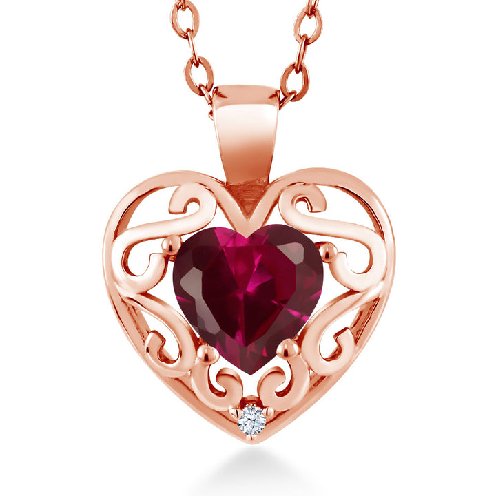 "Gem Stone King 0.97 Ct Heart Shape Red Created Ruby 18K Rose Gold Plated Silver Pendant with 18"" Chain"