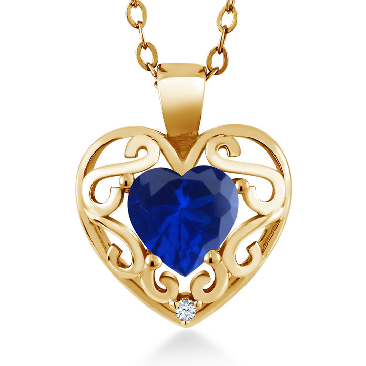 "Gem Stone King 0.81 Ct Heart Shape Blue Simulated Sapphire 18K Yellow Gold Plated Silver Pendant with 18"" Chain"