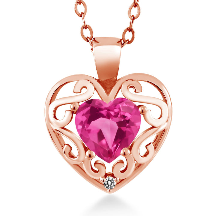 "Gem Stone King 0.81 Ct Heart Shape Pink Created Sapphire White Diamond 18K Rose Gold Plated Silver Pendant with 18"" Chain"