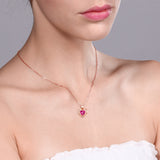 0.81 Ct Pink Created Sapphire White Diamond 18K Rose Gold Plated Silver Pendant