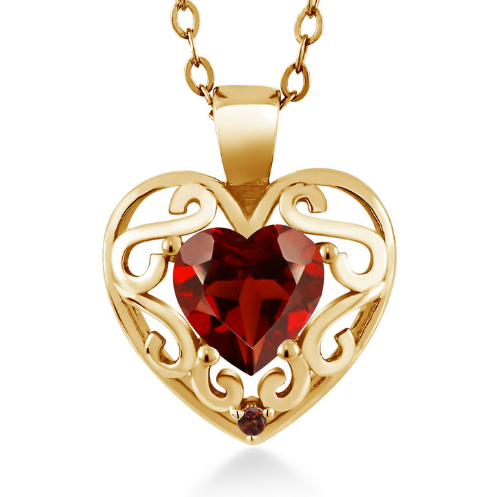 "Gem Stone King 0.91 Ct Heart Shape Red Garnet 18K Yellow Gold Plated Silver Pendant with 18"" Chain"
