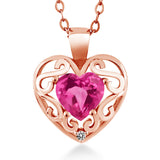 "Gem Stone King 0.96 Ct Heart Shape Pink Mystic Topaz White Diamond 18K Rose Gold Plated Silver Pendant with 18"" Chain"