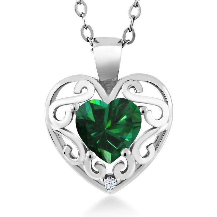 "Gem Stone King 0.69 Ct Heart Shape Green Simulated Emerald White Created Sapphire 925 Silver Pendant with 18"" Chain"