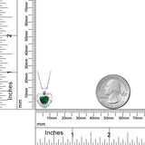 0.69 Ct Green Simulated Emerald White Created Sapphire 925 Silver Pendant