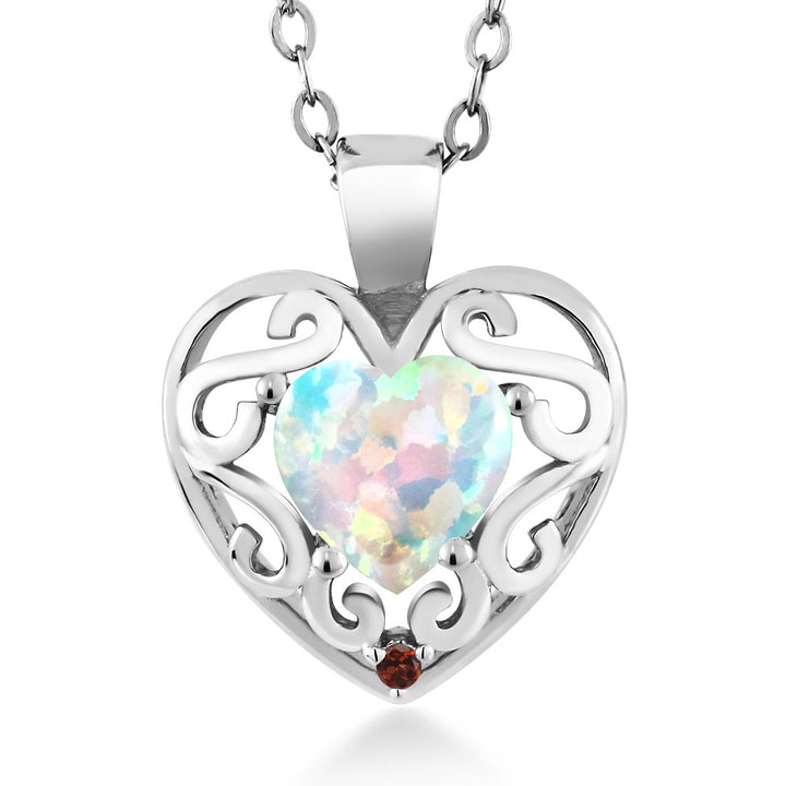 "Gem Stone King 0.76 Ct Heart Shape White Simulated Opal Red Garnet 925 Sterling Silver Pendant with 18"" Chain"