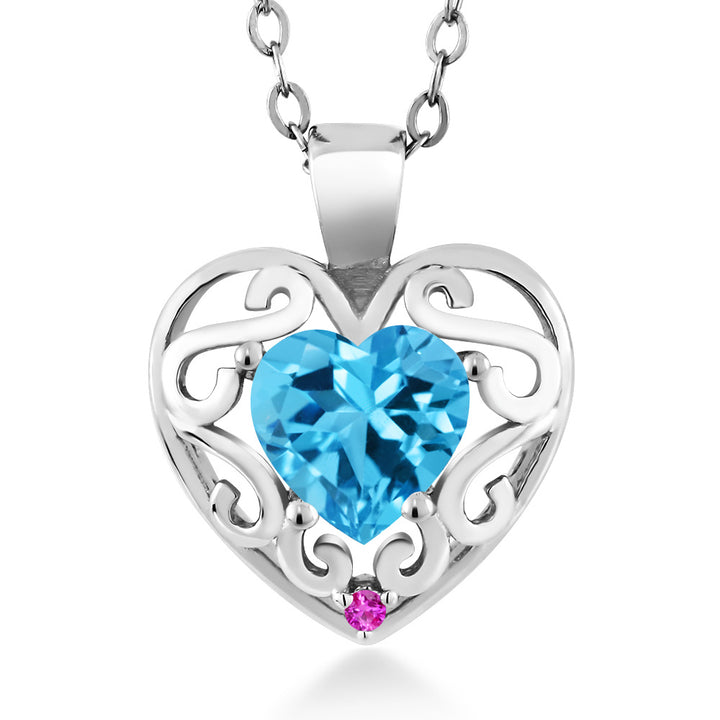 "Gem Stone King 0.96 Ct Heart Shape Swiss Blue Topaz Pink Sapphire 925 Sterling Silver Pendant with 18"" Chain"