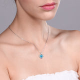 0.96 Ct Heart Shape Swiss Blue Topaz Pink Sapphire 925 Sterling Silver Pendant
