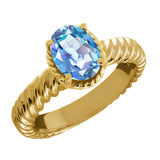 Gem Stone King 2.30 Ct Oval Millennium Blue Mystic Quartz 925 Yellow Gold Plated Silver Ring