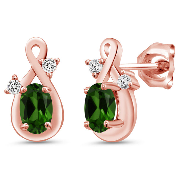 Gem Stone King 0.93 Ct Oval Green Chrome Diopside 18K Rose Gold Plated Silver Earrings