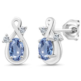 Gem Stone King 1.14 Ct Oval Blue Sapphire White Topaz 925 Sterling Silver Earrings