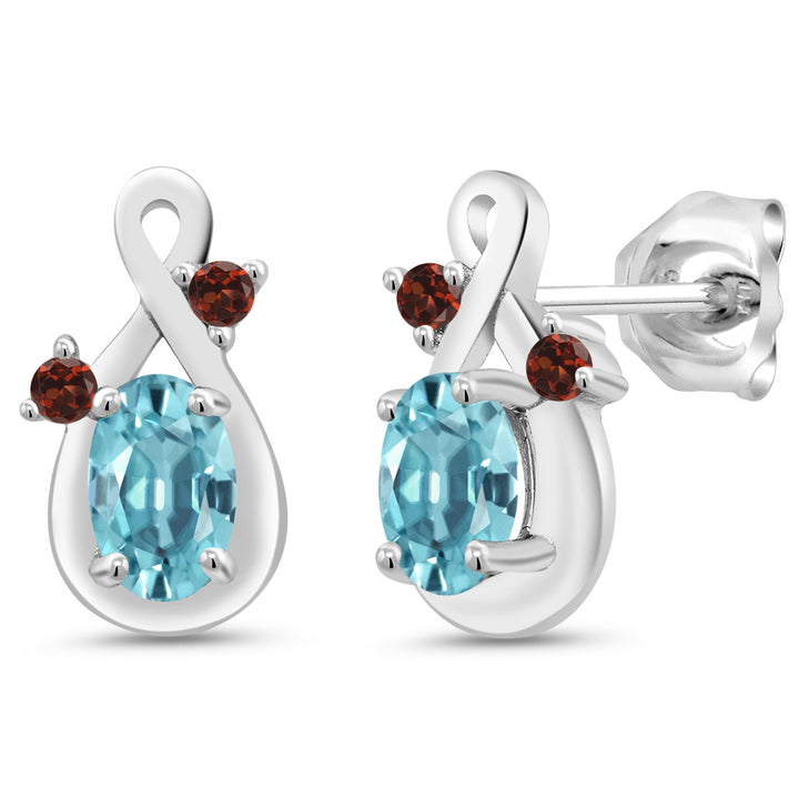 Gem Stone King 1.54 Ct Oval Blue Zircon Red Garnet 925 Sterling Silver Earrings