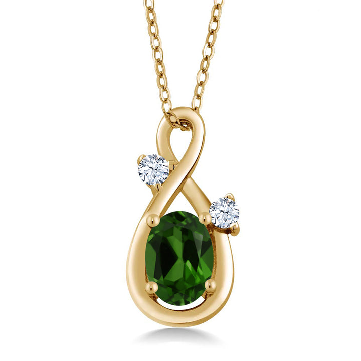 Gem Stone King 0.88 Ct Green Chrome Diopside White Created Sapphire 18K Yellow Gold Plated Silver Pendant