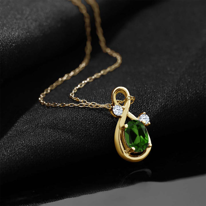 18K Yellow Gold Plated Silver Chrome Diopside White Created Sapphire Pendant