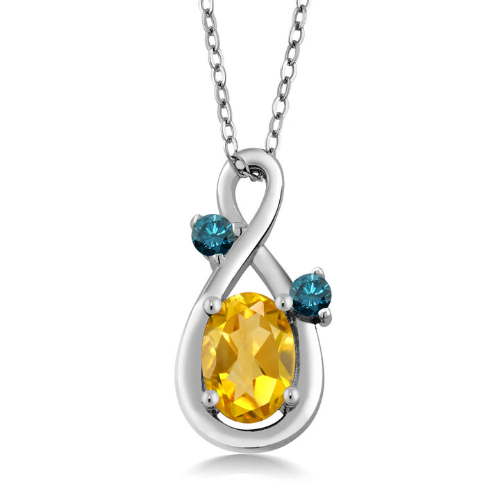 Gem Stone King 0.67 Ct Oval Yellow Citrine Blue Diamond 925 Sterling Silver Pendant