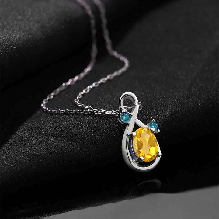 0.82 Ct Oval Yellow Citrine Blue Diamond 925 Sterling Silver Pendant