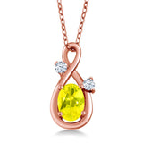 Gem Stone King 0.88 Ct Canary Mystic Topaz White Created Sapphire 18K Rose Gold Plated Silver Pendant