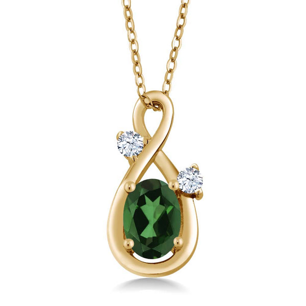 Envy Mystic Topaz & White Created Sapphire 18K Yellow Gold Plated Silver Pendant