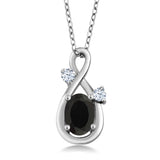 Gem Stone King 0.88 Ct Oval Black Onyx White Created Sapphire 925 Sterling Silver Pendant