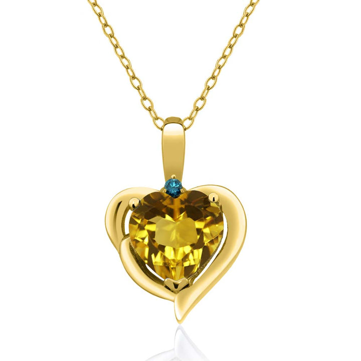 Gem Stone King 1.62 Ct Yellow Citrine Blue Diamond 18K Yellow Gold Plated Silver Pendant