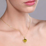 1.62 Ct Yellow Citrine Blue Diamond 18K Yellow Gold Plated Silver Pendant