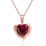 Gem Stone King 1.72 Ct Red Created Ruby White Created Sapphire 18K Rose Gold Plated Silver Pendant