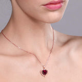 1.72 Ct Created Ruby and Created Sapphire 18K Rose Gold Plated Silver Pendant