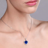 1.02 Ct Heart Shape Blue Simulated Sapphire 925 Sterling Silver Pendant