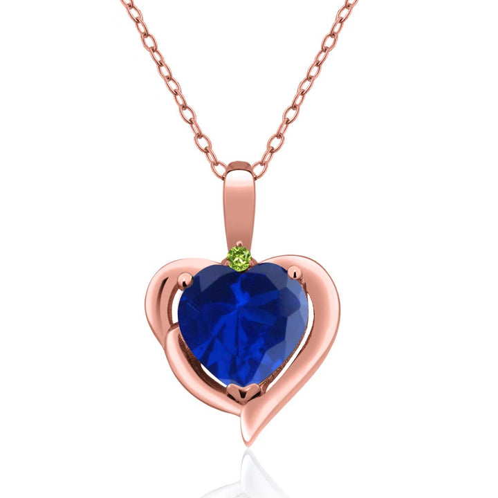 Gem Stone King 1.02 Ct Simulated Sapphire Simulated Peridot 18K Rose Gold Plated Silver Pendant