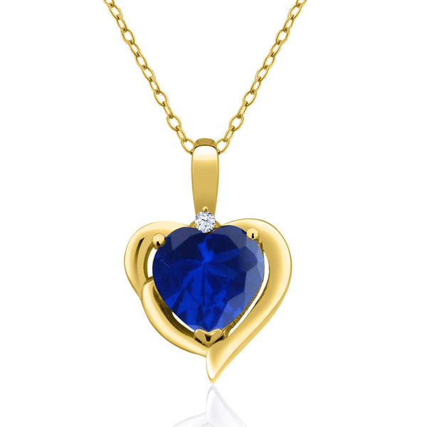 Gem Stone King 1.02 Ct Blue Simulated Sapphire White Topaz 18K Yellow Gold Plated Silver Pendant